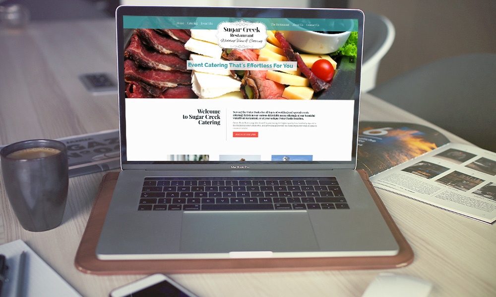sugar creek catering responsive website